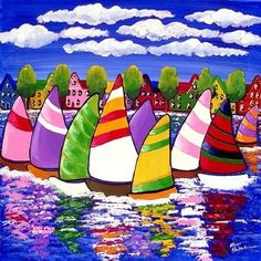 Colorful Sailboats folk art