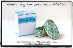 FREE Liberty Jane Printable Doll Size Shopping Bag (included in the pattern, or get it here)