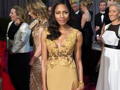 """Bond Girl Naomie Harris in the winning design of this year's """"Red Carpet Green Dress"""" challenge at the 2013 Oscars."""