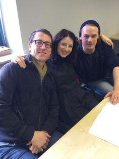Outlander cast in Scotland per SteveKentSony twitter - Tobias Menzies (Frank/BJR) Caitriona Balfe (Claire) Sam Heughan (JAMMF)