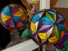 Japanese-style multi-colored temari ball