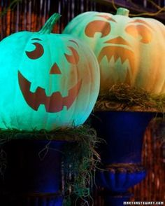 How to make glow-in-the-dark pumpkins for Halloween via Martha Stewart. #creative #DIY #preschool #prek #kindergarten #kids #children #pumpkin #Halloween #HappyHalloween #kids #children #outdoor #outside #simple #party #decoration #home #decor