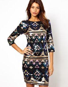 TFNC Bodycon Mini Dress Aztec Sequin