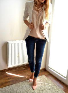 White blazer, nude pumps, peach shirt