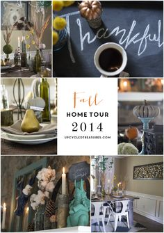 View the fall home tour of DIY blogger Upcycled Treasures, along with 35+ other creative bloggers! #fallhometour #modernrustic