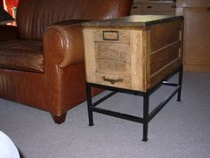 A great marriage of a file cabinet and a metal base.