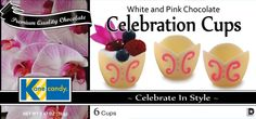 Chocolate Cups by Kane Candy. Artisan made white & pink scrolled Chocolate Celebration Cups. Chef inspired chocolate desserts for any special occasion, weddings, holiday events or just to impress your dinner guests with an amazing dessert!  www.KaneCandy.com