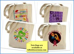 Tote bags make a perfect gift for cancer patients, warriors,  survivors and advocates. Perfect for toting necessary items.  Get yours at www.gifts4awareness.com