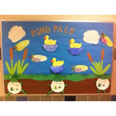 My pond life bulletin board includes the frog life cycle, dragonflies sans lily pads, and ducks on the water. All have student writing incorporated. Frogs are Carson Delosa, dragonflies Pinterest, and ducks are Mailbox PreK April/May issue 2012.