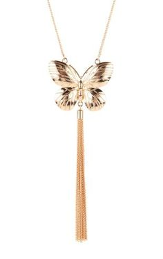 Deb Shops Long Necklace with Butterfly and Tassel $7.50