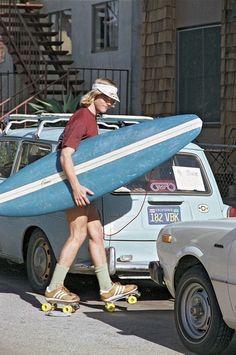 Surfer on rollerskates, Venice Beach, 1979.