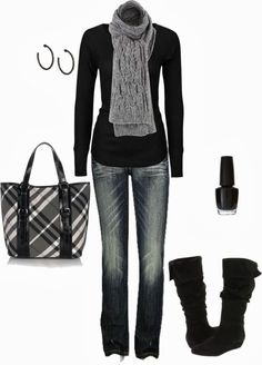 nail polish, black outfits, black clothing polyvore, polyvore winter outfits, black boots, fall outfits, polyvore outfits jeans, casual outfits, black turtleneck outfit