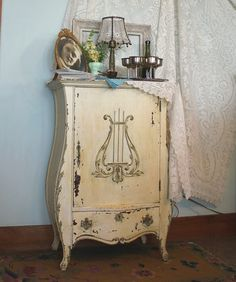 antiqu shabbi, stencil, music cabinet
