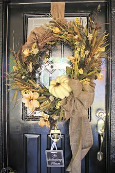 My Sister's Crazy!: PORCH DECORATIONS THAT EASILY TRANSITION FROM HALLOWEEN INTO THANKSGIVING. FALL BURLAP AND WHITE PUMPKIN WREATH FOR FRONT DOOR.