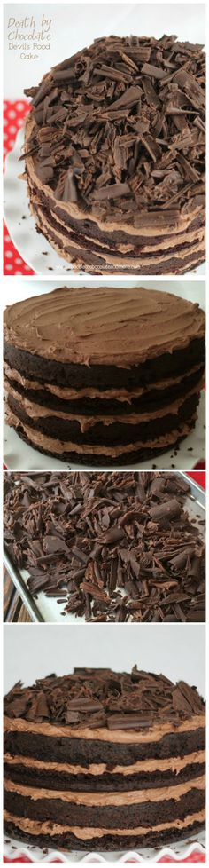 Death by Chocolate -Layers of Devils Food #Cake divided by rich Chocolate Buttercream topped with #Chocolate curls