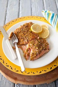 Pistachio Crusted Salmon with Lemon Cream Sauce