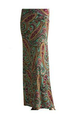 Womens Vintage Paisley Maxi Skirts