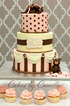 Baby shower cake girl, pink and brown, Cakes by Camille
