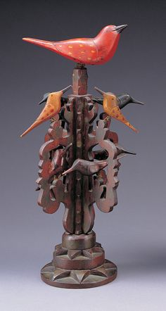 """BIRD TREE / artist unidentified, Pennsylvania, late 19th century, paint on wood with wire, 15 7/8 x 6 3/4"""" diam.,  American Folk Art Museum, gift of Mr. and Mrs. Austin Fine, 1981.12.19, photo by John Parnell"""