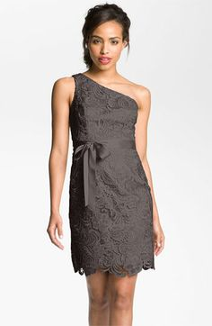 Adrianna Papell Lace One Shoulder Sheath dress