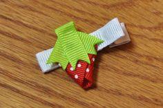 Summer Strawberry Ribbon Hair Clip