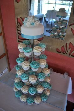 Tiffany blue and white wedding cupcake tier