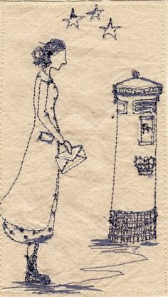Betty tries to catch the last post, embroidery by Michelle Holmes