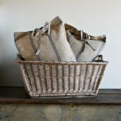 french market basket and blue stripe pillows