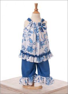 Le' Za Me- Beachy Blooms Pillowcase Capri Set