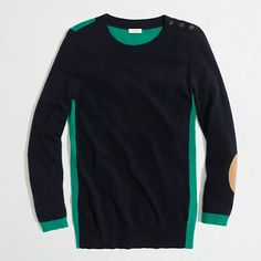 jcrew colorblock elbow-patch sweater