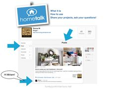 HOW TO USE HOMETALK - a website for sharing your projects and asking DIY questions. Share, learn and grow your blog! Non blogs welcome too! - review by Funky Junk Interiors