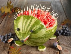 watermelon porcupine.  starting to plan rory's first birthday.  fruit animals seems to always catch my attention.