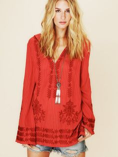 Free People Stripe Hooded Embroidered Tunic, $128.00
