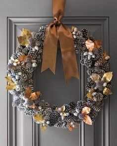 gold, copper, silver & white | Pinecone Wreath