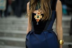 statement necklace - maltese cross with chunky jewels