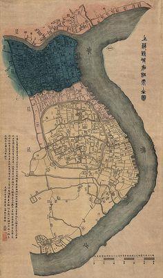 Map of Shanghai, China, 1884