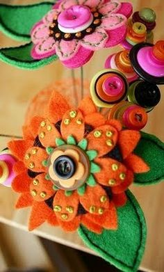 Felt Flower and Button Bouquet