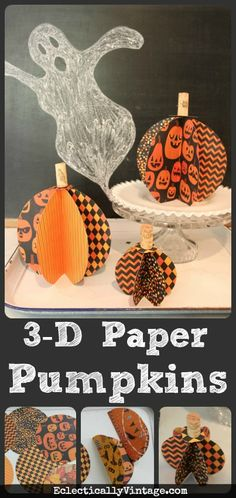 3D Paper #Pumpkin Tutorial - so fun and easy to make!  eclecticallyvintage.com
