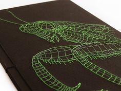 Mantis Notebook (detail) by Fabulous Cat Papers (Hand embroidery)
