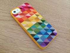 Cute rainbow cross stitch iPhone case from hugsarefun.