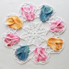 Vintage Variegated Tulip Doilies Set Pattern  by Maggiescrochet, $7.99