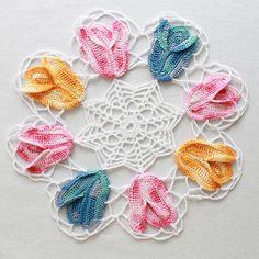 Vintage Variegated Tulip Doilies Set Pattern  by Maggiescrochet, $7.99 set pattern, tulip doili, varieg tulip, crochet tulip pattern, doili set