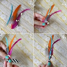 DIY feather boutonnieres
