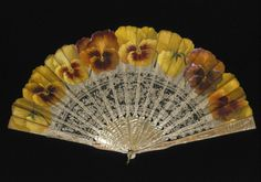 .Painted silk gauze and bobbin lace leaf, with mother-of-pearl sticks and guards. 1890-1900 France