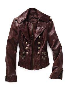 chocolate leather fashion, militari jacket, color, victoria secret, leather jackets, leather jackett, coat, leather militari, military