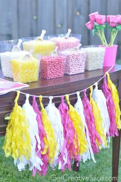 Princess party favor station and candy buffet