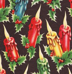 Vintage Christmas Wrap Candles Black by hmdavid, via Flickr