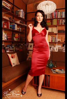 The Bad Girl Dress in Burgundy Satin by Pinup Couture