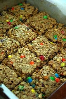 Chewy Granola Energy Bars. So easy and so tasty. Better than store bought granola bars!      Ingredients  2 1/2 cups quick rolled oats  1/2 cup Rice Krispies  1/4 cup coconut  1/2 cup mini M & M candies  1/2 cup chopped peanuts  1/2 cup brown sugar  1 Tbsp ground flax  1/4 cup butter, softened  1/2 cup peanut butter  1/4 cup honey  1/2 tsp vani