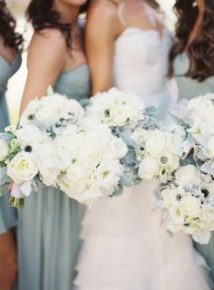 Pale blue #bridesmaids paired with soft white blooms | Florals by Stephanie Aquilon | Patrick Moyer Photography